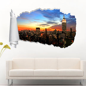 New York Skyline Sunset 3D Torn Paper Hole Ripped Effect Decal Wall Sticker