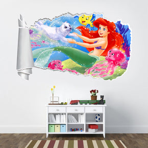 Little Mermaid 3D Torn Paper Hole Ripped Effect Decal Wall Sticker WT72