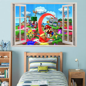 Paper Mario 3D Window View Wall Sticker Decal J1511
