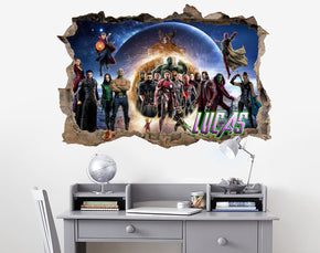 THE AVENGERS Personalized 3D Smashed Bricks Decal Wall Sticker WP266