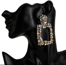 Load image into Gallery viewer, Lucin Rectangle Crystal Drop Earrings