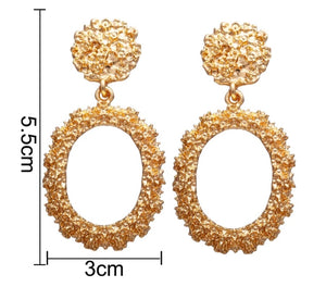 Nicole Textured Oval Drop Earrings