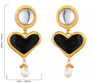 Alina Stone Heart Drop Earrings