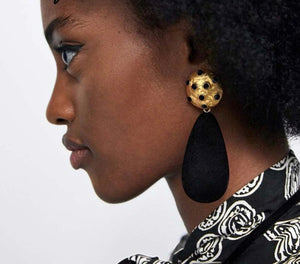 Taline Black Velvet Drop Earrings