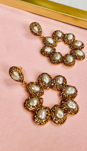 Lara Gold & Pearl Round Earrings