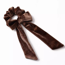 Load image into Gallery viewer, Large Velvet Hair Tie Scrunchies with Bow