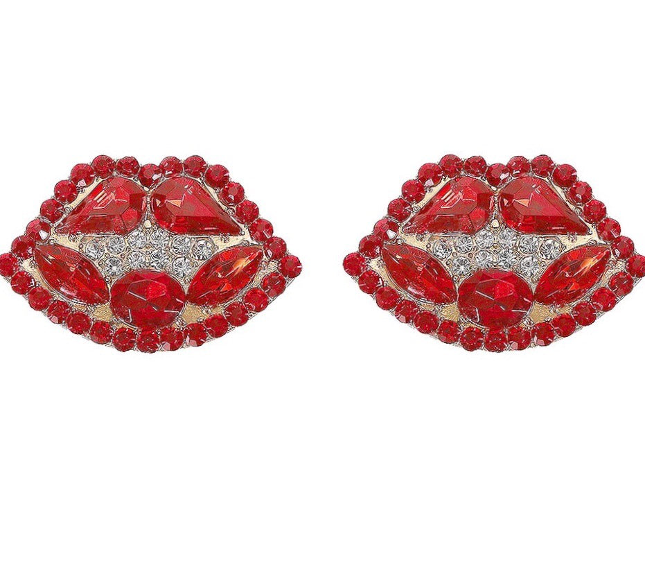 Ruby Red Lip Earrings