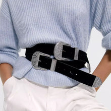 Load image into Gallery viewer, Velvet Feel Diamante Belt