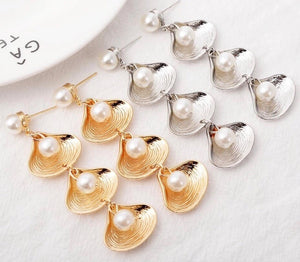 Seashell Pearl Long Drop Earrings