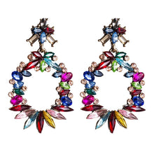 Load image into Gallery viewer, Rosette Colourful Rhinestone Drop Earrings