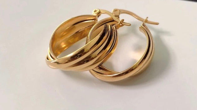 Connie Gold Plated Twist Mini Hoops