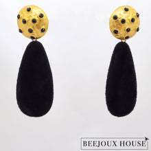 Load image into Gallery viewer, Taline Black Velvet Drop Earrings