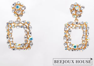 Lucin Rectangle Crystal Drop Earrings