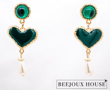 Load image into Gallery viewer, Bella Coeur Heart Drop Earrings