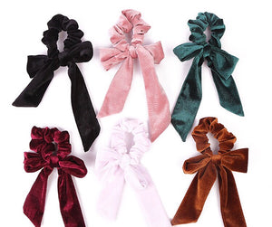 Large Velvet Hair Tie Scrunchies with Bow