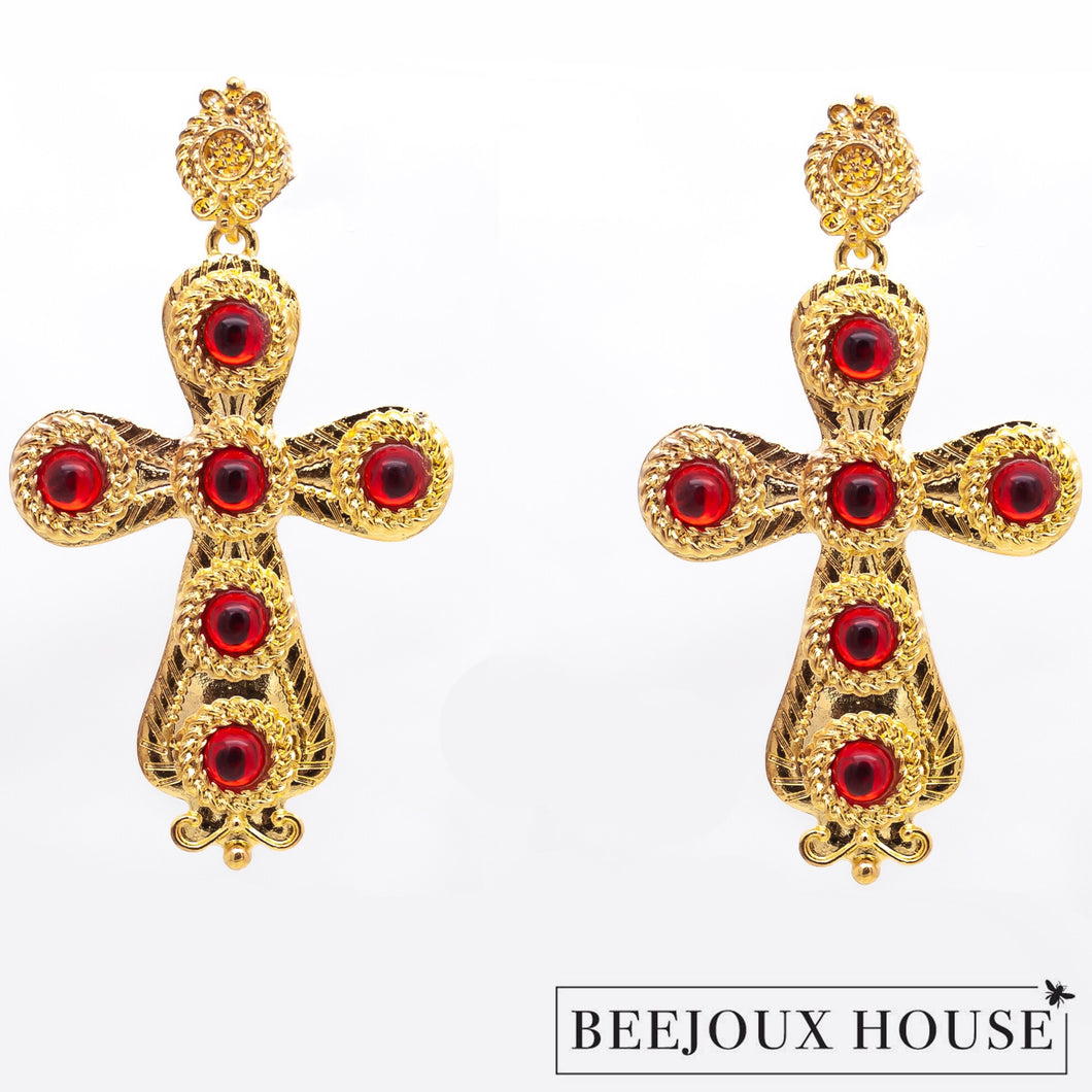 Saint Gold & Red Earrings