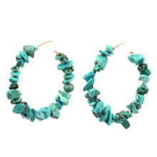 Load image into Gallery viewer, Mia Turquoise Hoops
