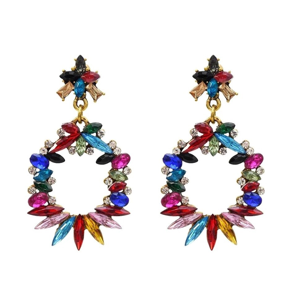 Rosette Colourful Rhinestone Drop Earrings