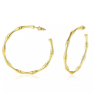 Capri Bamboo 18k Gold Plated Big Hoops