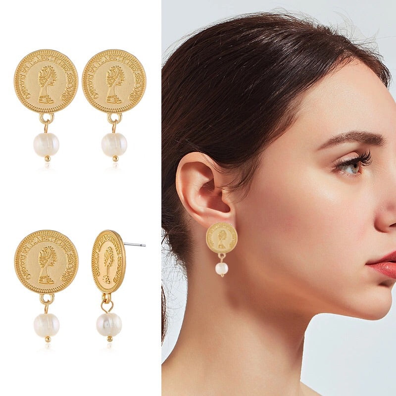 Gold Coin Pearl Drop Earrings