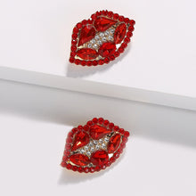 Load image into Gallery viewer, Ruby Red Lip Earrings