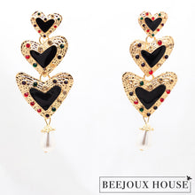 Load image into Gallery viewer, Valentine Long Drop Heart Earrings