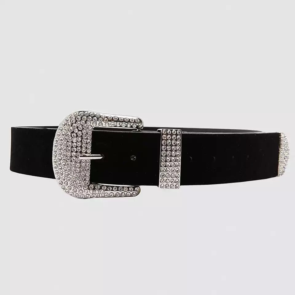 Velvet Feel Diamante Belt