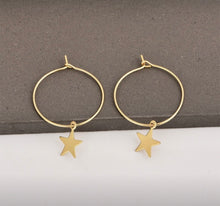 Load image into Gallery viewer, Star Hoop Drop Earrings