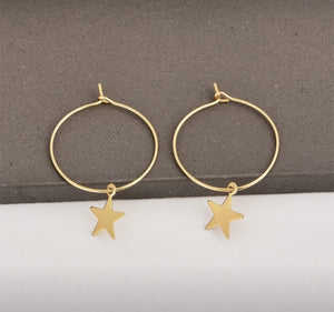 Star Hoop Drop Earrings