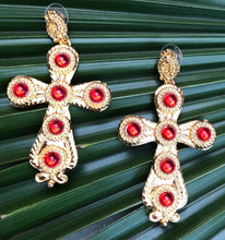 Load image into Gallery viewer, Saint Gold & Red Earrings