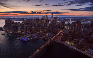 Aerial Lower Manhattan - Sunset