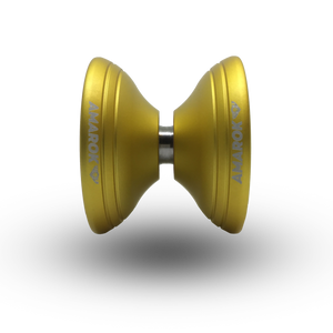A metal yoyo body with the Teflon fingerspin yoyo cups allows for a hollow construction, which makes an unparalleled rim weighted design possible. This weight distribution isn't possible with a traditional solid metal design.