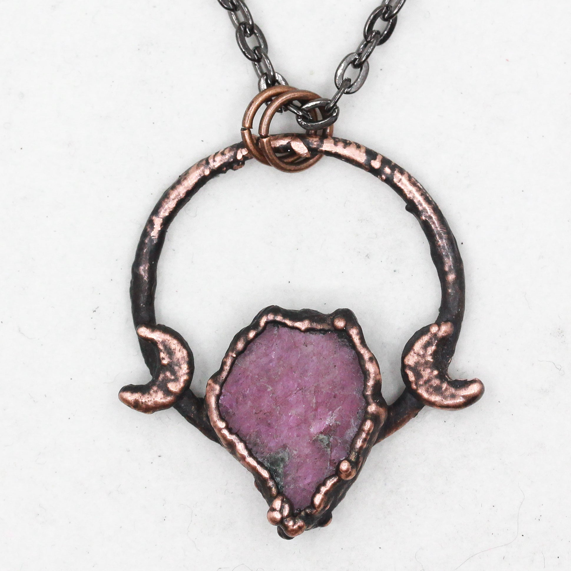 Electroformed Raw Ruby Crystal & Crescent Moon Necklace