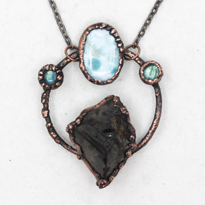 Electroformed Elite Shungite, Larimar & Labradorite Crystal Necklace
