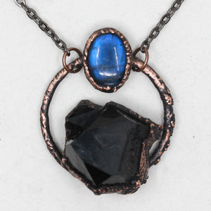 Electroformed Smoky Quartz & Labradorite Raw Crystal Necklace