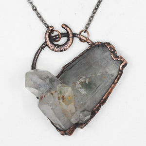 Large Electroformed Chlorite Inclusion Quartz Moon Necklace