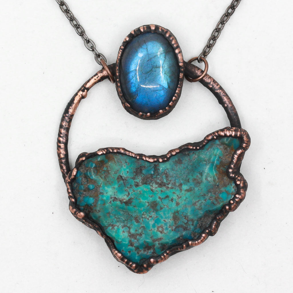 Electroformed Turquoise & Labradorite Raw Crystal Necklace