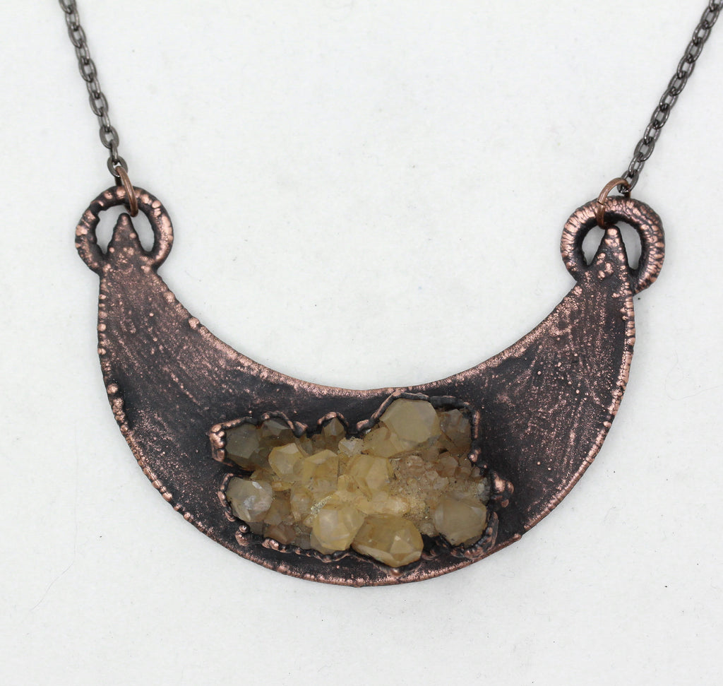 Electroformed Raw Tangerine Quartz Crystal Cluster Moon Necklace