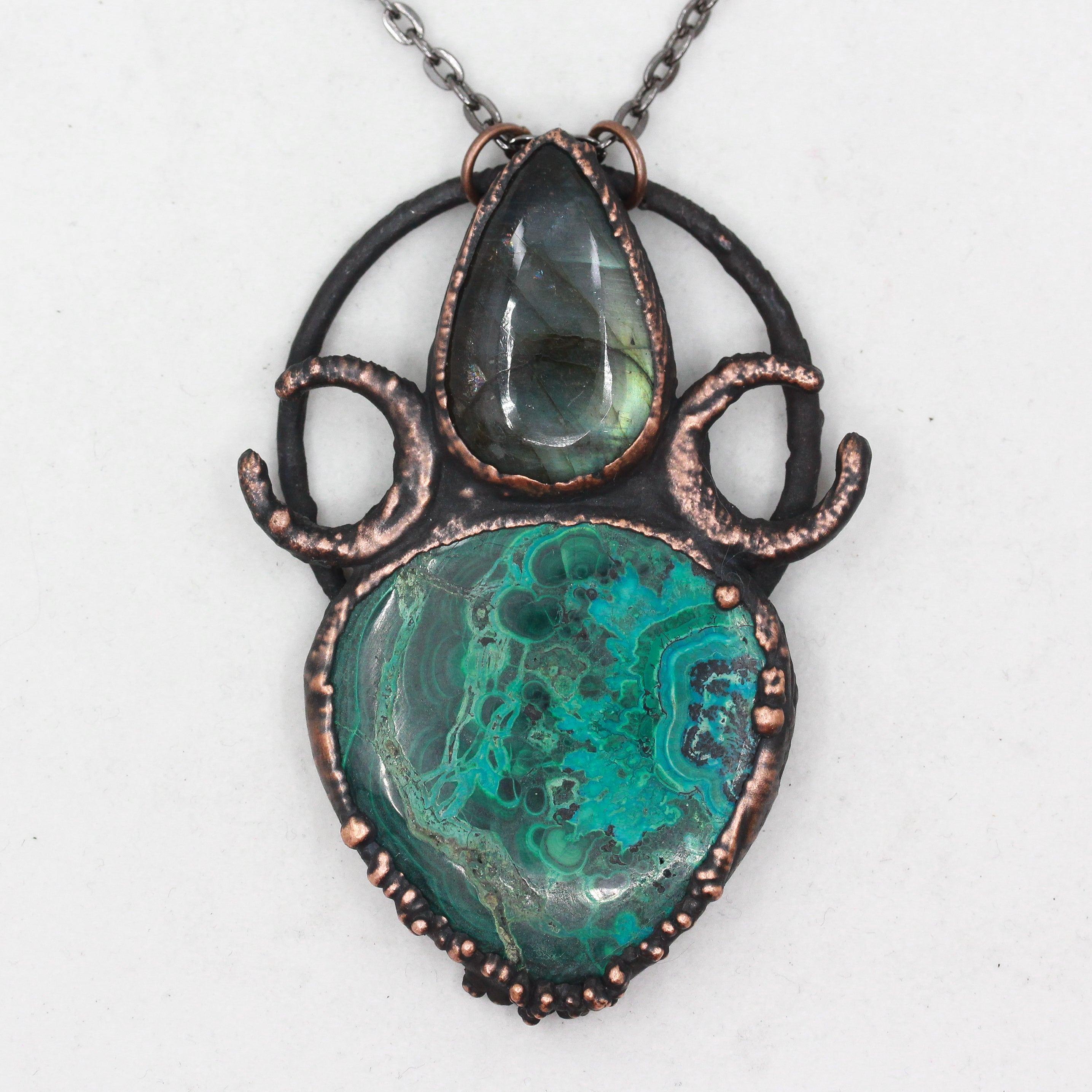 Azurite Malachite & Labradorite Crescent Moon Necklace
