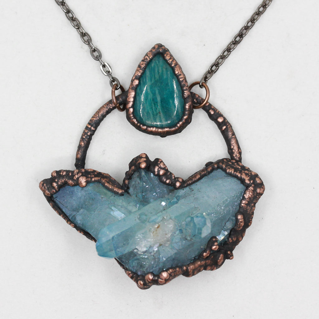 Electroformed Aqua Aura Quartz & Amazonite Raw Crystal Cluster Necklace
