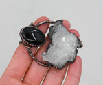 Electroformed Quartz Cluster & Obsidian Raw Crystal Necklace