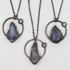 Small Electroformed Aura Amethyst Crystal & Labradorite Necklace