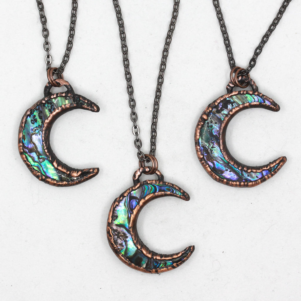 Copper Electroformed Abalone Shell Crescent Moon Necklace