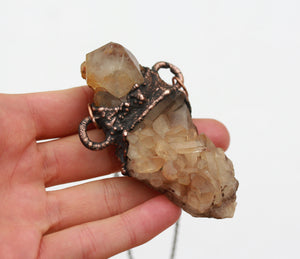 Electroformed Spirit Quartz & Tangerine Quartz Cluster Necklace