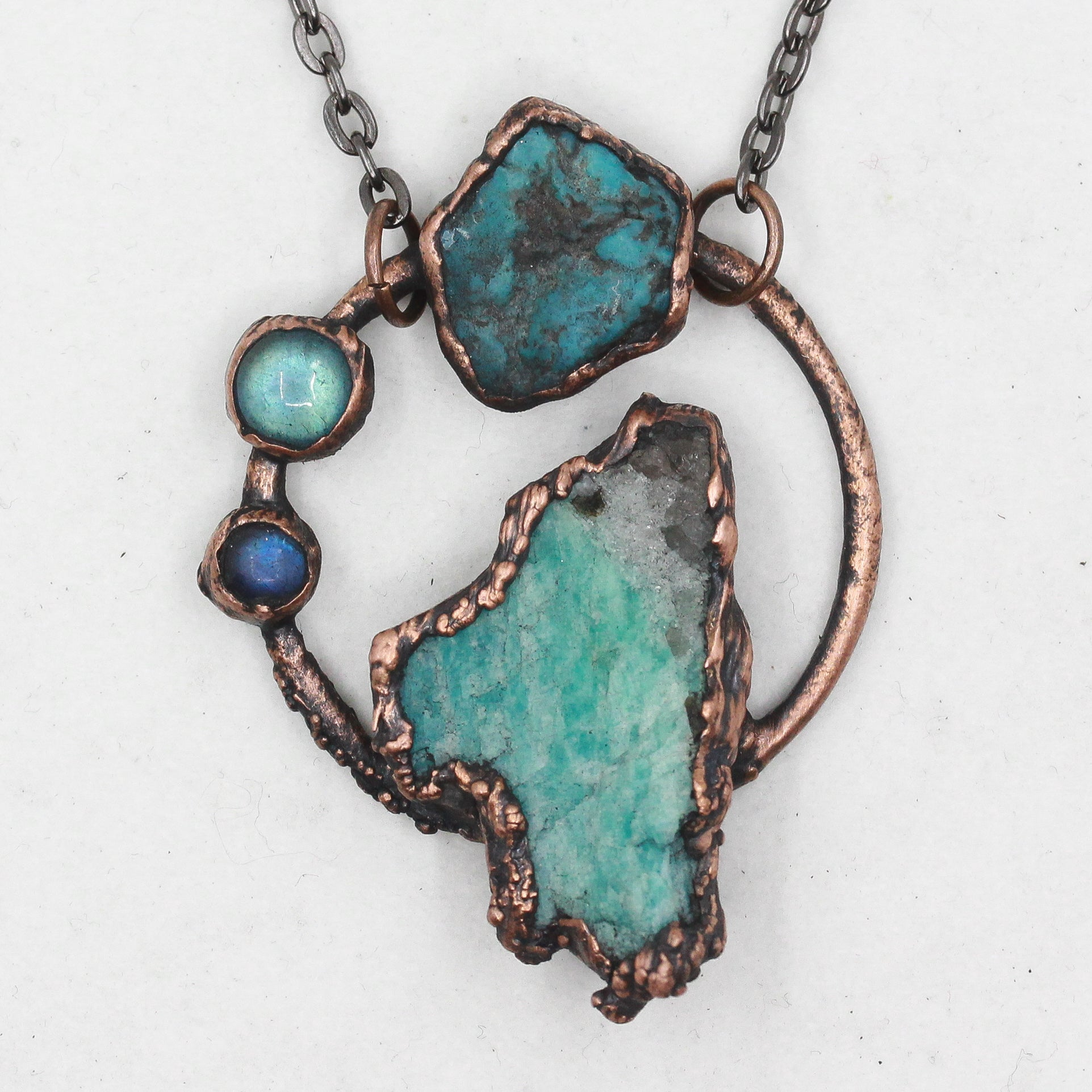 Electroformed Amazonite, Labradorite & Turquoise Hoop Necklace