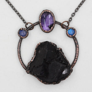 Electroformed Purple Fluorite, Amethyst & Moonstone Necklace