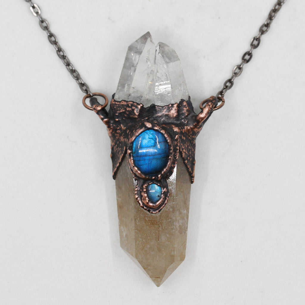 Electroformed Rutilated Quartz & Labradorite Raw Crystal Necklace