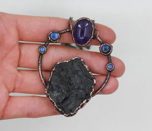 Electroformed Raw Black Tourmaline & Amethyst Crystal Necklace