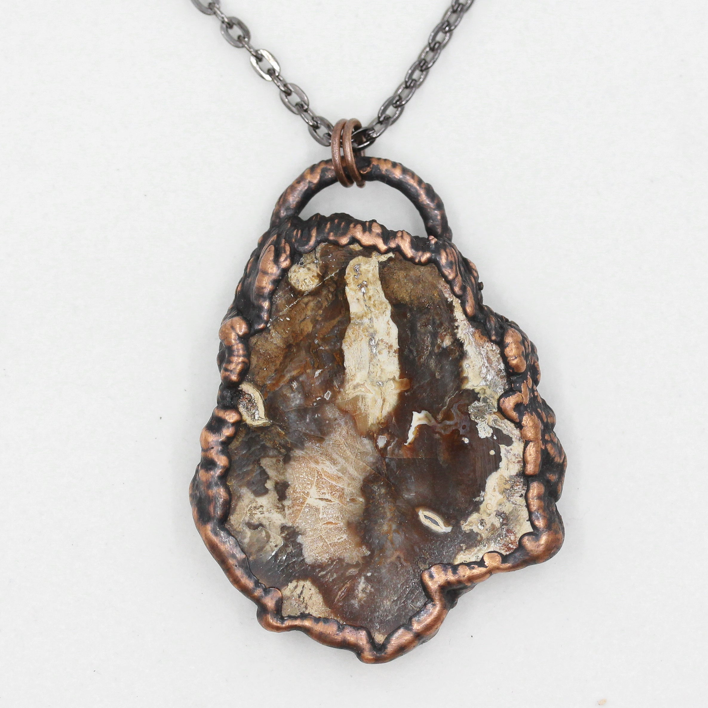 Copper Electroformed Petrified Fossilised Wood Pendant