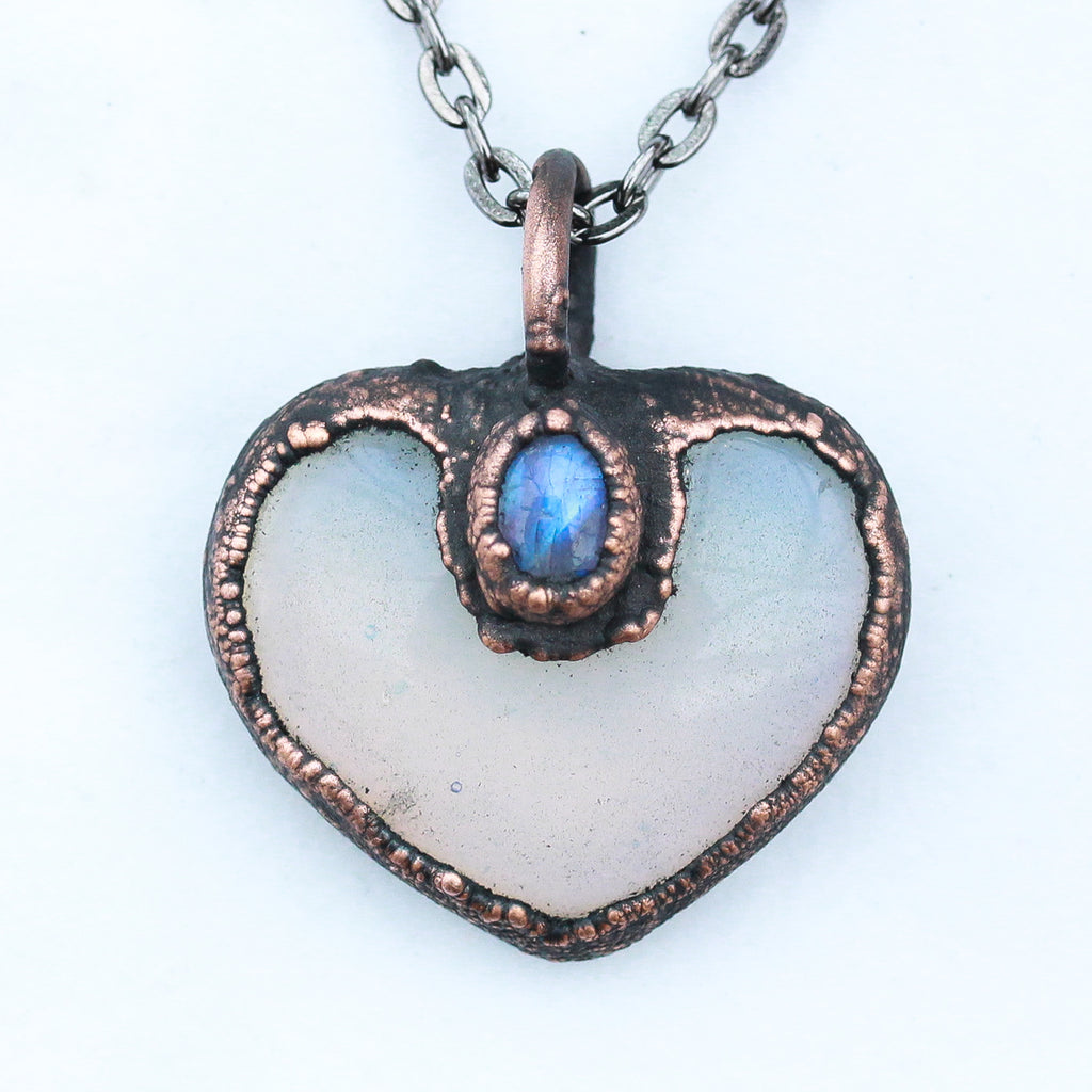 Electroformed Opalite & Moonstone Love Heart Crystal Necklace